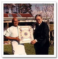 Sri Chinmoy with David Lange